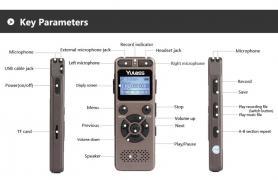 Yulass GV30 LGSIXE цифровой диктофон 8гб мини mp3-плеер